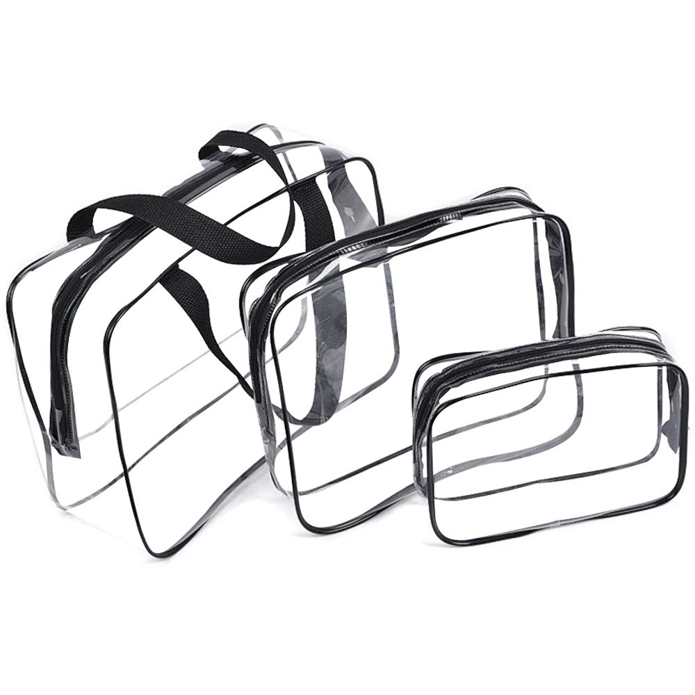Cosmetic Bag 3 Pack Clear Travel Toiletry Bag Set with Zipper Make-up Pouch Handle Straps | Waterproof Packing Organizer Storage Diaper Pencil Bags (Black)