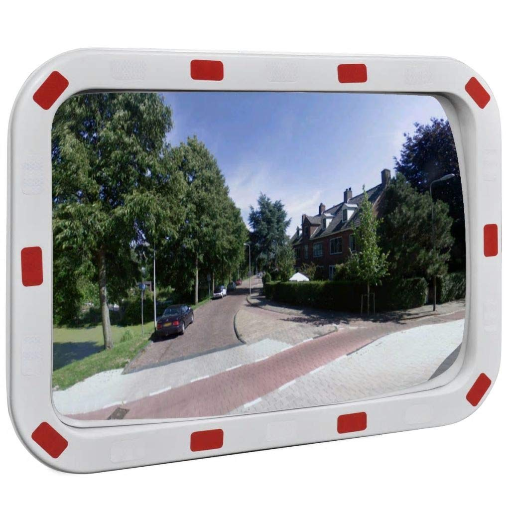 Convex Traffic Mirror Rectangle 16'' x 24'' with Reflectors Traffic Mirror Convex Mirror Frame Material: Polypropylene +Steel