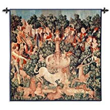 FineArtTapestries 2998-WH The Unicorn is Found Wool and Cotton Wall Tapestry