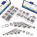 Glarks 560-Pieces M2 M3 Pan Head Phillips Stainless Steel Screws Bolts Nuts Lock and Flat Gasket Washers Assortment Kit