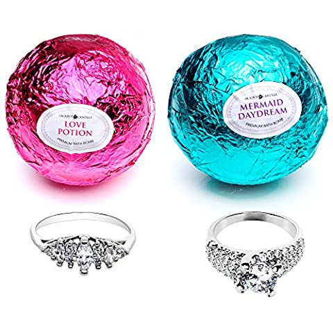 Mermaid Love Potion Bath Bombs Gift Set of 2 with Ring Surprise Inside Each Made in USA (Bath Bombs Love)
