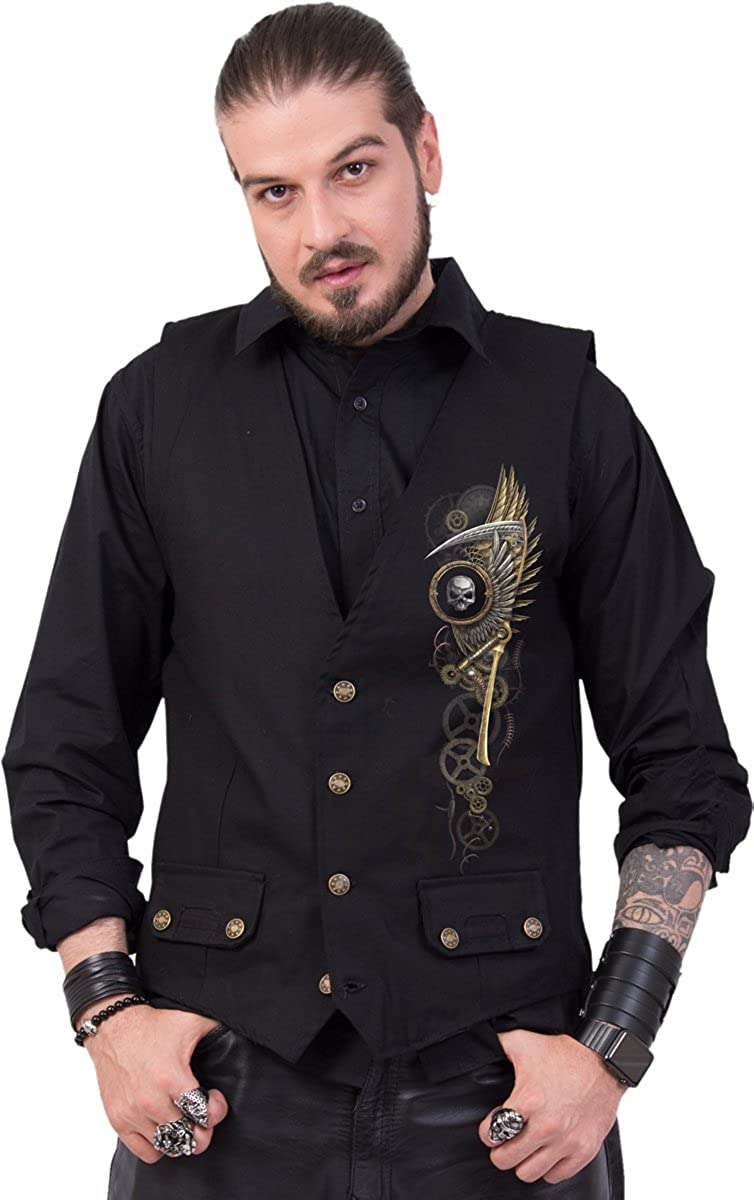 Gothic Waistcoat Four Button with Lining Spiral STEAM PUNK REAPER