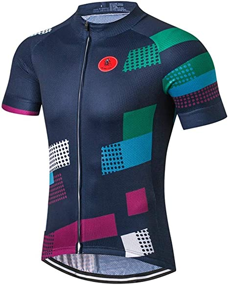 Maillots De Ciclismo Para Hombre,Camisa De Ciclismo De Manga Corta Para Hombre, Camiseta De Ciclismo De Montaña, Equipo De Secado Rápido, Transpirable, Geometría Colorida, Ropa De Bicicleta: Amazon.es: Deportes y aire libre