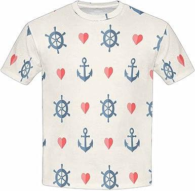 INTERESTPRINT Youth T-Shirts Nautical Anchor and Ship Wheel XS-XL