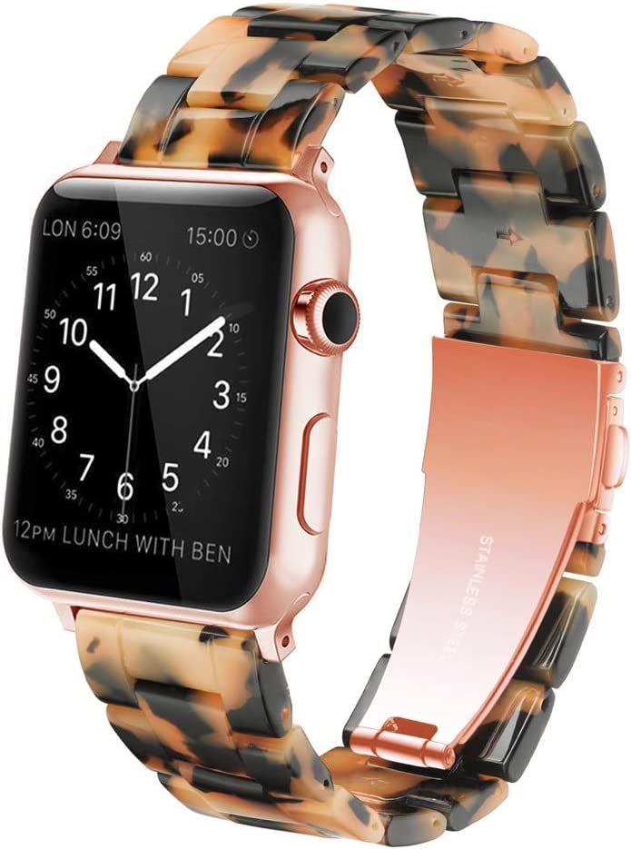 YGTIECS Resin Apple Watch Band Compatible with Apple Watch 42mm/44mm, top Resin Combine with Stainless Steel Connector for iwatch Band Series 6 5 4 3 2 1 for Women and Men-Brown Tortoise