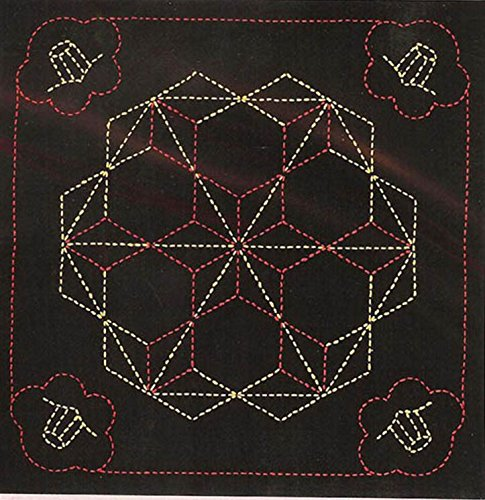 Olympus Sashiko Fabric Sampler Kit # 246 - Tsubaki & Tobiasa-no-hana - Black - Japanese Quilting, Sewing, Embroidery