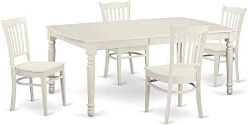 DOGR5-LWH-W 5 PC small Kitchen Table set for 4-Dining Table and 4 dinette Chairs