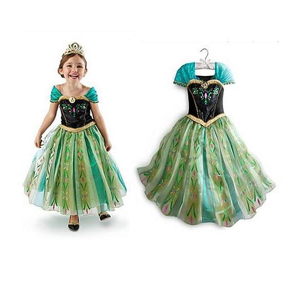 NICE SPORT Robes Enfant Princesse Anna La Reine des Neiges Cosplay Costume  Déguisement Cadeau Anniversaire  a7d47d687b90