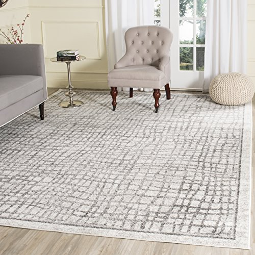 Safavieh Adirondack Collection ADR103B Silver and Ivory Vintage Geometric Area Rug (8' x 10')