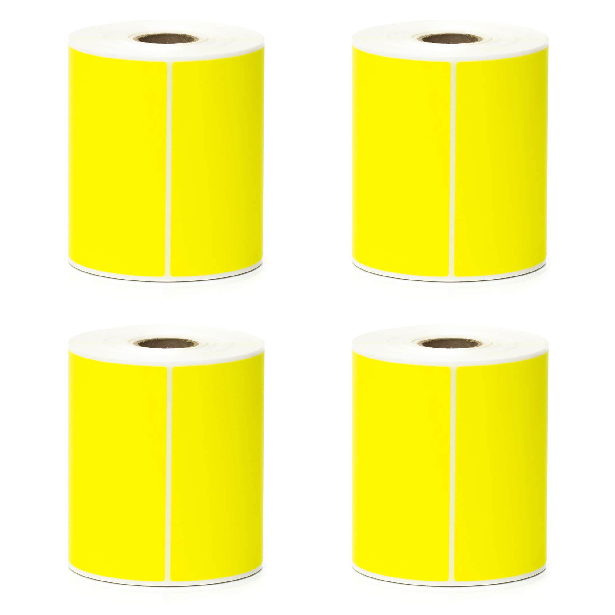 Direct Thermal Labels - 4'' x 6'' - Yellow - 1'' Core - Works with Zebra Thermal Desktop Printers, Datamax, Sato, Intermec and Honeywell Printers - Made in USA