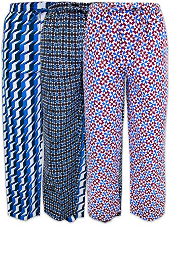 American Lounge Pants - AMERICAN HEAVEN Men's Lounge Pajama Sleep Pants/Drawstring & Pockets Designer Woven Pant Bottoms - 3 Pack (3 Pack- Geometrics 2, Medium)