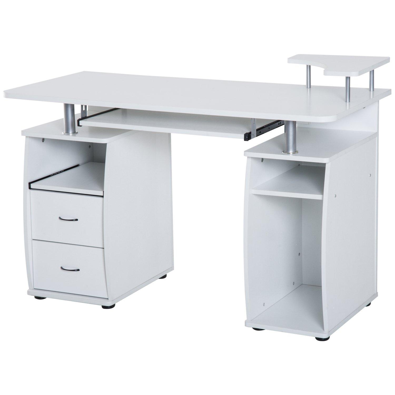 HomCom Home Office / Dorm Room Computer Desk with Keyboard Tray - White by HOMCOM