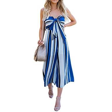 adf14f58421 Shinekoo Women Boohoo Beach Playsuit V Neck Sleeveless Off Shoulder Stripe  Front Wrap Long Wide Leg Jumpsuit  Amazon.co.uk  Clothing