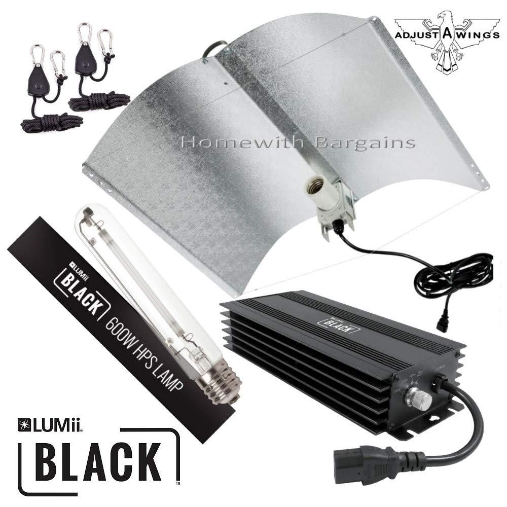 Adjust A Wing 600w LUMii BLACK Digital Ballast Grow Light Kit Reflector HPS Lamp
