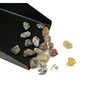 Grey/Yellow/Brown, 10 Pieces, Multicolored Raw Rough Diamonds, Natural Uncut Diamond, 5mm Each Approx