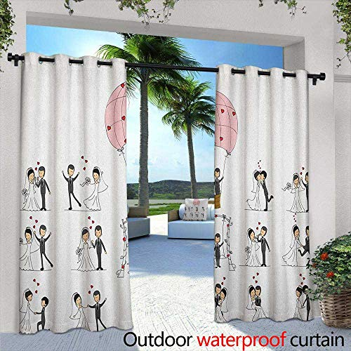 (Marilds Wedding Outdoor Grommet Window Curtain Bride and Groom Wedding Pictures in Comic Book Style Honeymoon Celebration Darkening Thermal Insulated Blackout 84