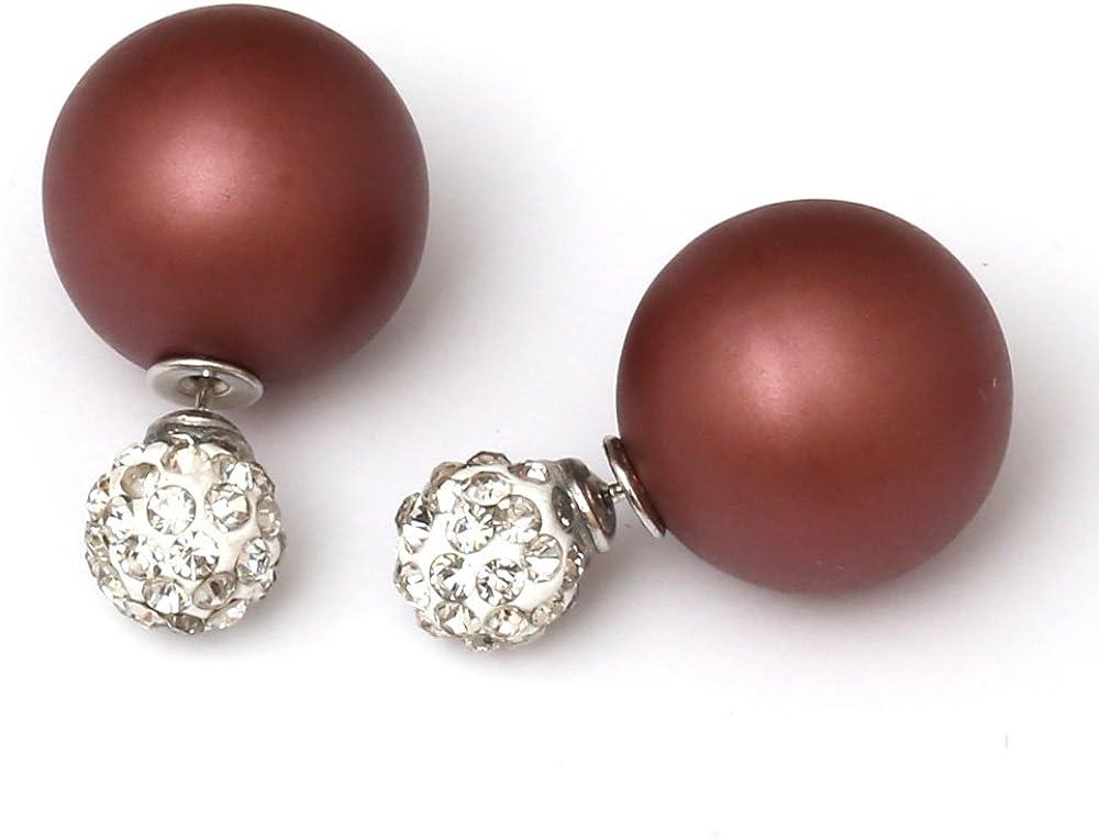 Idin - Pendientes de doble cara, perla ocre esmerilada de plástico y perla de fimo con cristales brillantes, aprox. 8 y 16 mm