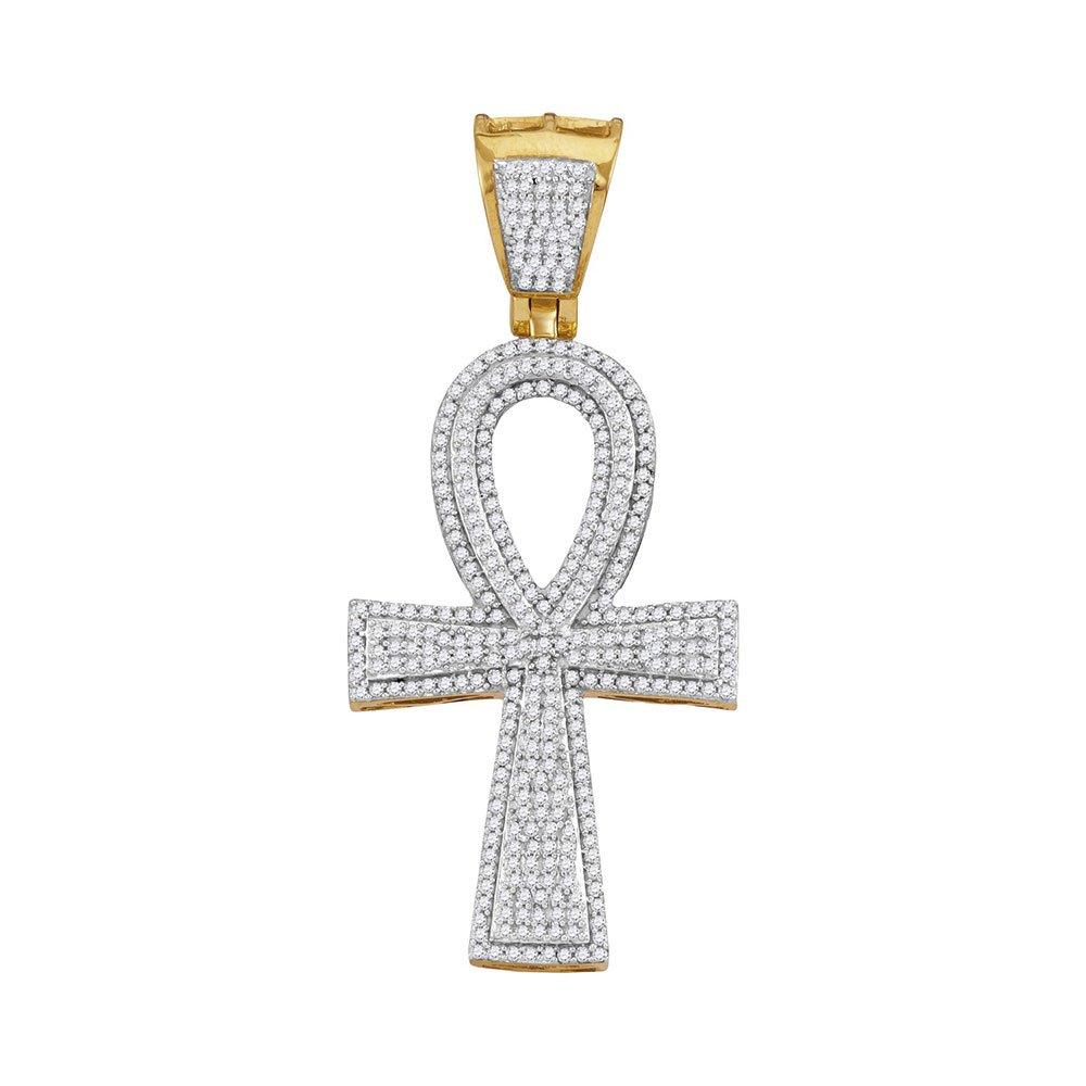10kt Yellow Gold Mens Round Diamond Ankh Flared Cross Charm Pendant 1.00 Cttw