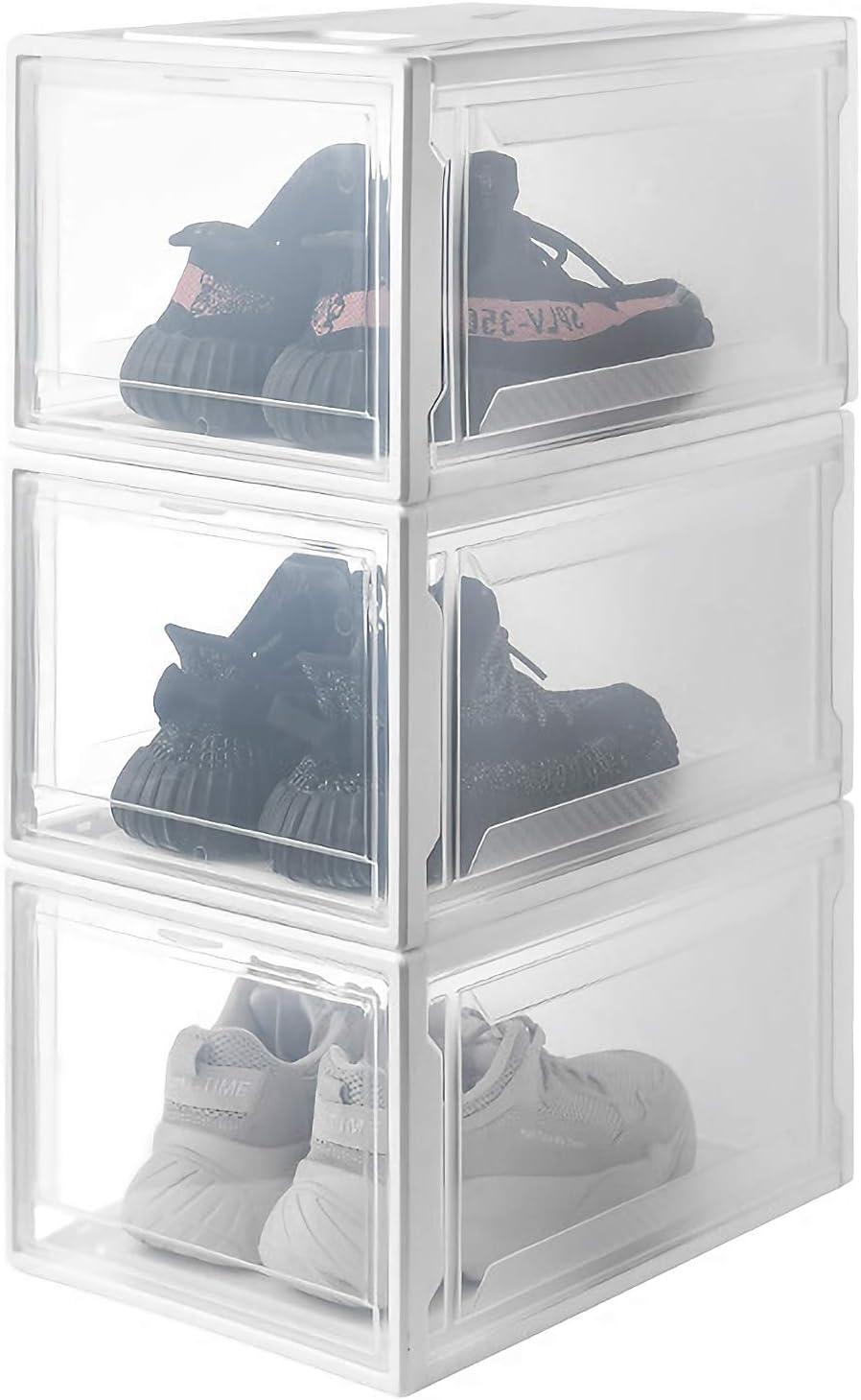 Yorbay Shoe Storage Box, 3pcs Stackable Shoe Organiser Boxes, Plastic Clear Door 26x37x20cm, for Ladies Men Shoes Up to UK Size 13 Reusable (White)
