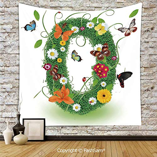 FashSam Polyester Tapestry Wall Spring Season Alphabet with Grass Daisy Butterflies Ladybugs Greenland Florets Decorative Hanging Printed Home -