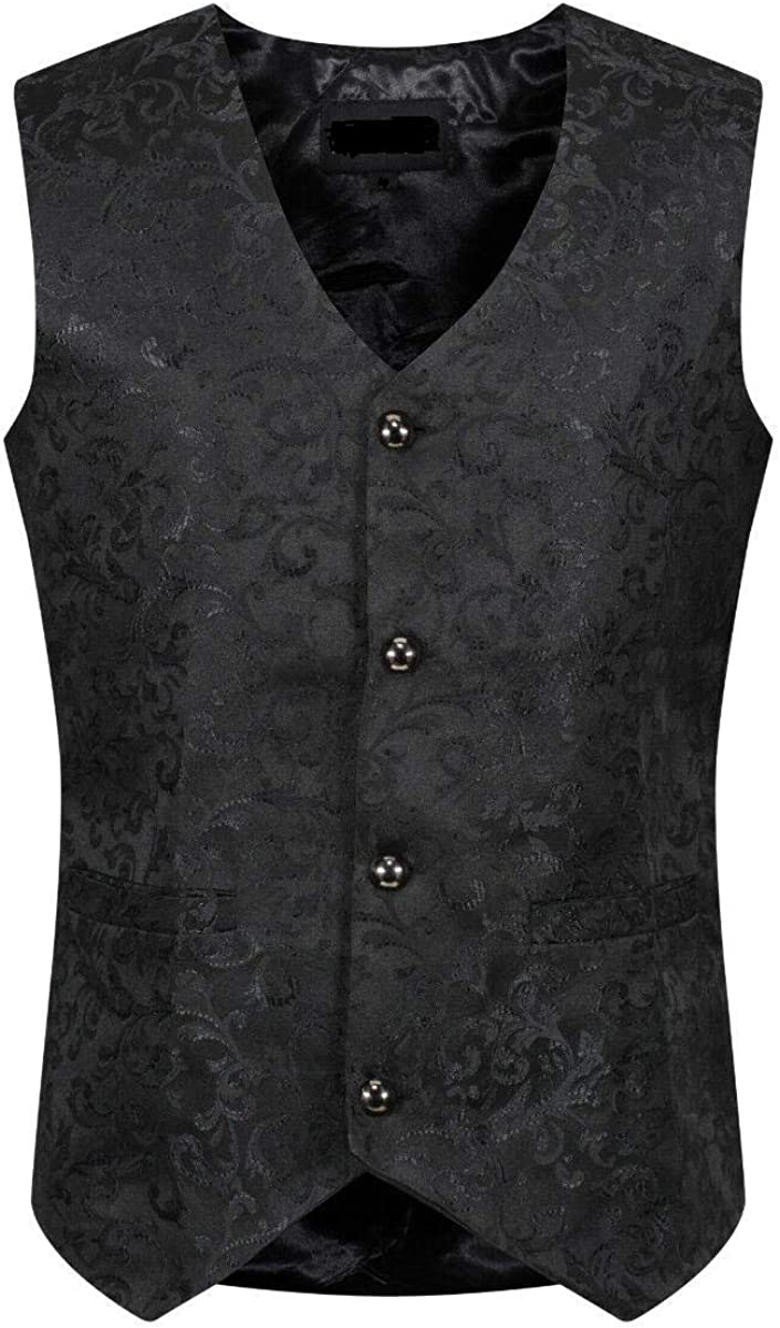 Darkrock Medieval Renaissance Steampunk Men Single Breasted Suit Vest Brocade Waistcoat