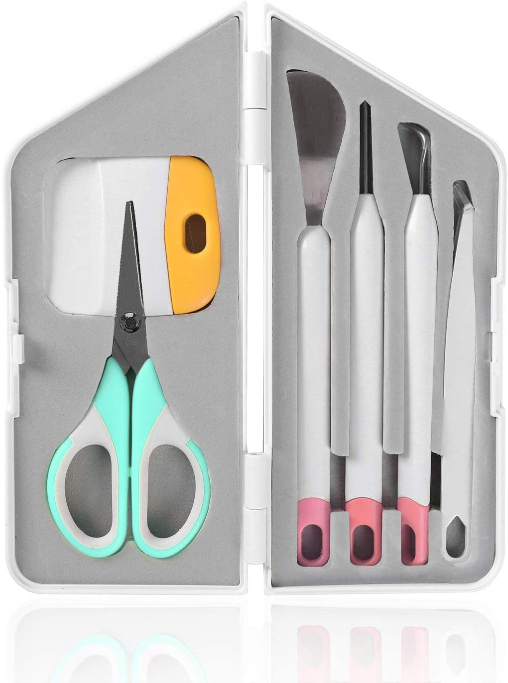 for Cricut//Silhouette//Siser//Oracal 631 651 751 Vinyl Tweezers,Scissors Craft Vinyl Weeding Tools,Precision Craft Vinyl Tools Set,Weeders Spatula,XL Scraper and Felt Storage Bag