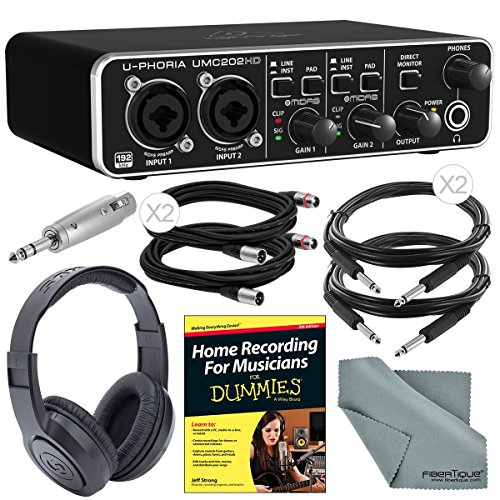 Behringer U-Phoria UMC202HD Audiophile 2×2 USB Audio Interface and Deluxe Bundle w/ Home Recording Guide + Pro Headphones + Adapter + Cables + Fibertique