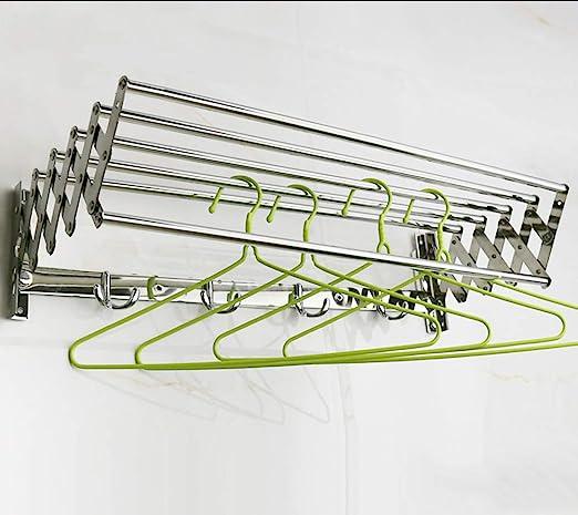 Design Facile da installare capacit/à di 88 libbre Minikuza Stendibiancheria da Parete in Acciaio Inossidabile Dimensioni estese: 150 * 600 * 350 mm Appendiabiti a Scomparsa con 4 Ganci