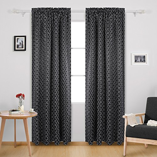 Deconovo Blackout Curtains Rod Pocket Room Darkening Curtains for Living Room 52W x 84L Inch with Printed Circle Pattern Black 2 Panels (Printed Circles)