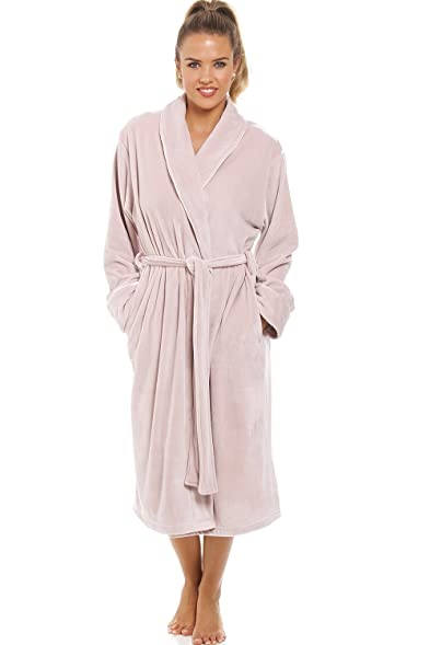 Camille Luxurious Heavy Weight Soft Taupe Velour Dressing Gown at ...