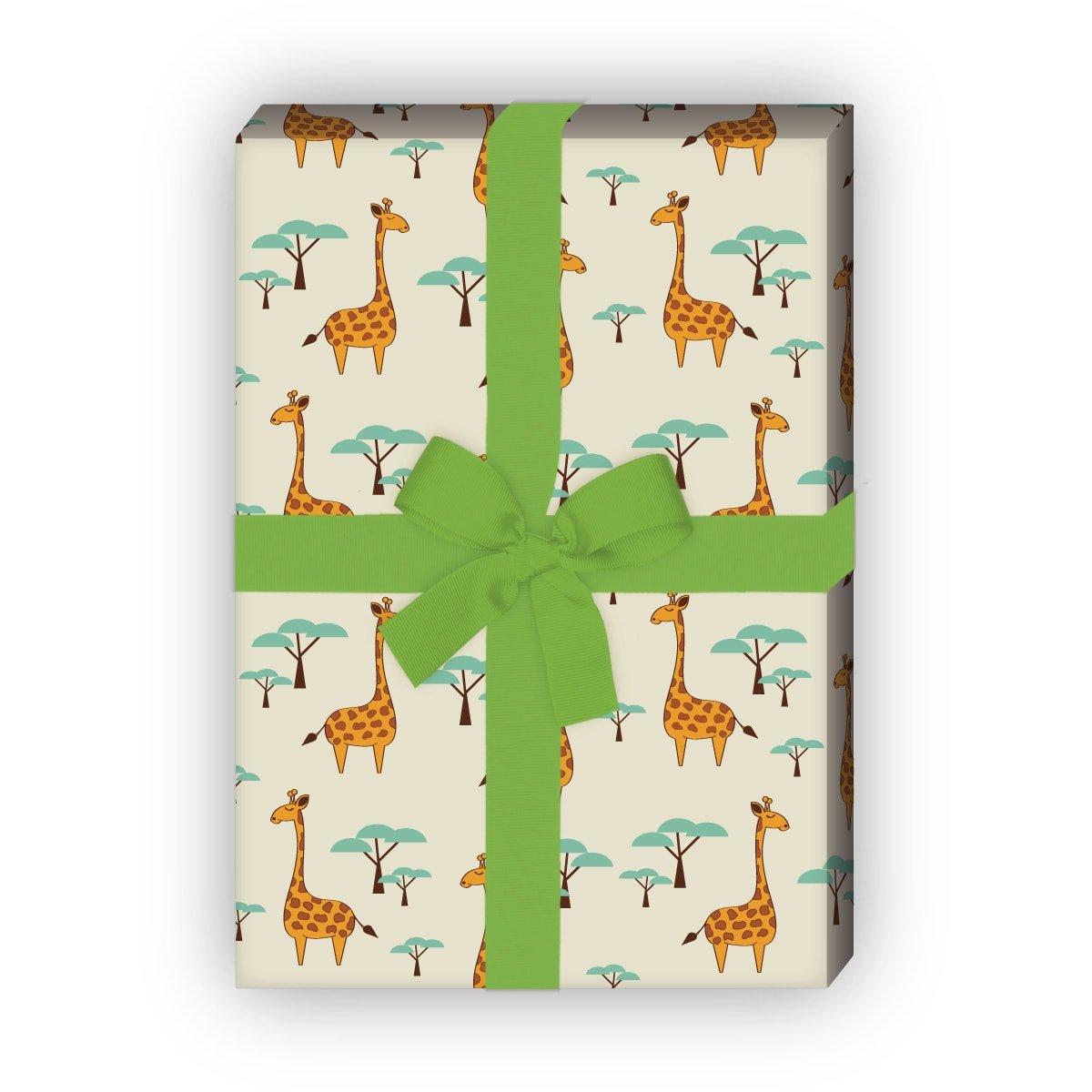 Afrika Geschenkpapier Set beige 4 Bogen f/ür sch/öne Geschenk Verpackung und /Überraschungen basteln 32 x 48cm //Dekorpapier mit Giraffen