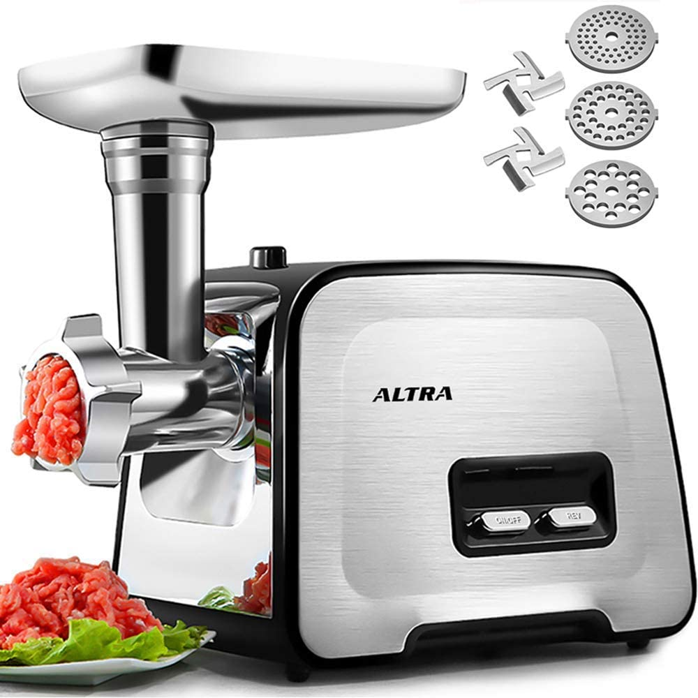 Upgrade Electric Meat Grinder, ALTRA Stainless Steel Meat Mincer Sausage Maker Stuffer Food Processor, 2000W Max Concealed Storage Box Sausage Tubes Kubbe Makers, 3 Plates, 2 Blades, 1 Pusher