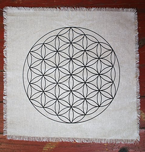 Printed linen Flower of Life Sacred Geometry Crystal Grid Altar Cloth