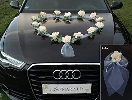 Organza Heart Car Decoration Wedding Car Decoration Rose Decoration