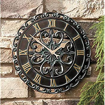 Amazon Com 14 Quot Medallion Outdoor Clock Wall Hanging