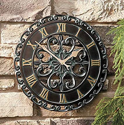 Amazon Com 14 Medallion Outdoor Clock Wall Hanging Outside Patio