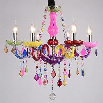 Gran Araña Color Vela Lámpara De Cristal Romántico Sala De ...