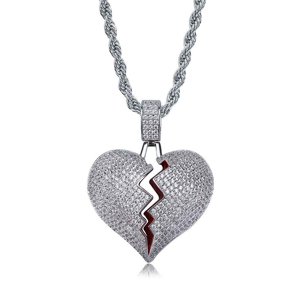 SENTERIA Hip Hop Iced-Out Men Necklace Rapper 18K Gold Plated CZ Fully Bling  Bubble Broken Heart Pendant Necklace Chain for Men Women Fashion Jewelry  Gifts bfe558b8a381