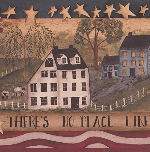 There is No Place Like Home Stripes Stars Village Retro Wallpaper Border Vintage Design, Roll 15' x 9'' (Wallpaper Border Home Place Like)