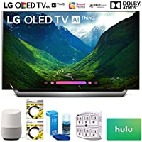 LG OLED55C8PUA 55 Class C8 OLED 4K HDR AI Smart TV 2018 Model (OLED55C8PUA) with Google Home, 2X 6ft HDMI Cable, Screen Cleaner for LED TVs, 6-Outlet Surge Adapter & $100 Hulu Plus Gift Card