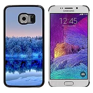 Smartphone Rígido Protección única Imagen Carcasa Funda Tapa Skin Case Para Samsung Galaxy S6 EDGE SM-G925 Nature Winter White Lake / STRONG