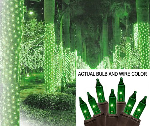 - Sienna 2' x 8' Green Mini Christmas Net Style Tree Trunk Wrap Lights - Brown Wire