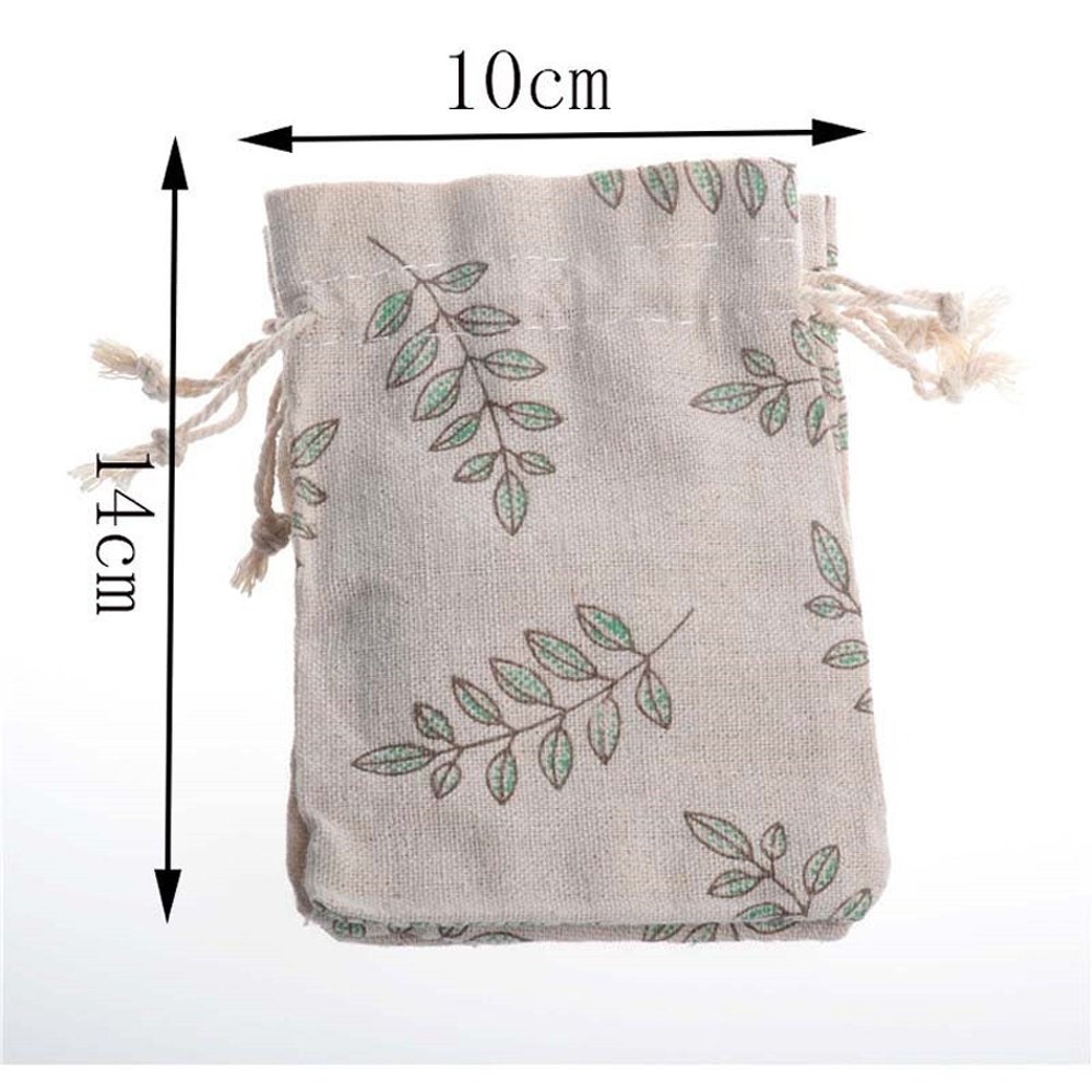 PER-HOME Small Cotton Muslin Double Drawstring Bag-Jute Cloth Sack Muslin Bags Jewelry Pouch Reusable Bags-Souvenir Gift Bag Printed Folwer Pattern