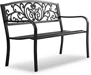 HCY 50 Inches Garden Bench Outdoor Metal Bench Patio Garden Bench Sturdy Steel Frame Furniture for Yard, Outdoor, Park, Porch, Entryway, Lawn,(Black)