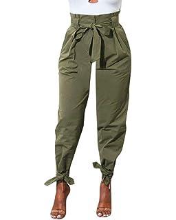Femme Pantalons Elégante Taille Haute Slim Fit Couleur Unie Pantalon De Loisirs  Printemps Trousers Fashion Décontracté 3c0ef13656f
