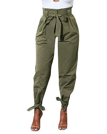 Femme Pantalon Elégante Printemps Automne Taille Haute Uni Manche Pantalon  Sarouel Mode Chic Fashion Bouffant Tendance 65d64ac0203