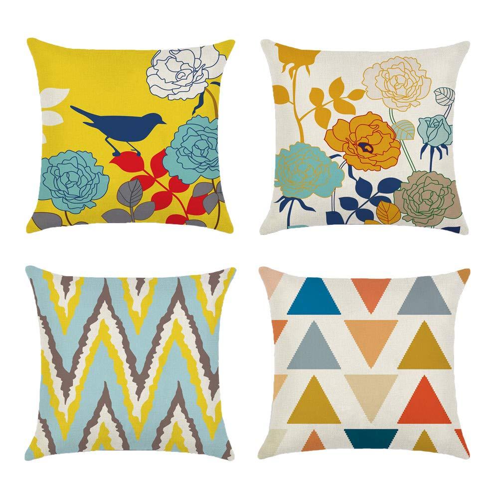 Mina Lobataスロー枕カバー18 至高 x 18インチ4セットコットンリネン装飾クッションソファカーのケースホーム 寝室 B07BZJ8N6X Bird-triangle Inch 18 ディスカウント