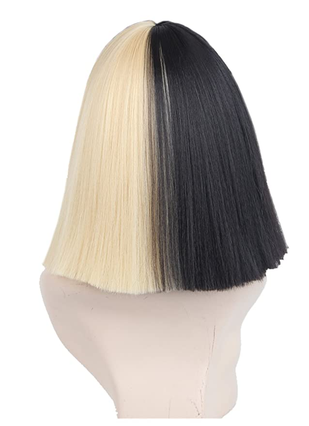 Half Blonde And Black 2 Tone Hair Short Straight Cosplay Costume Wig For Women Only Amazonca Beauty