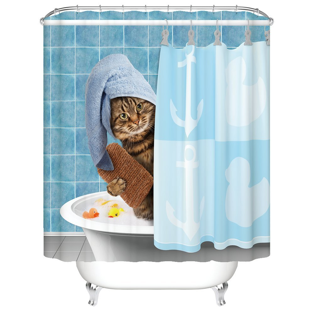 Amazon.com: Gwein Animals Funny Kitten Cat Bathing Decor Shower ...