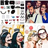 31pcs Masks Photo Booth Props Mustache with Stick for Wedding Party Decorations